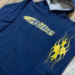 Vintage Nike Hoodie Sweatshirt Huge Logos Boys M